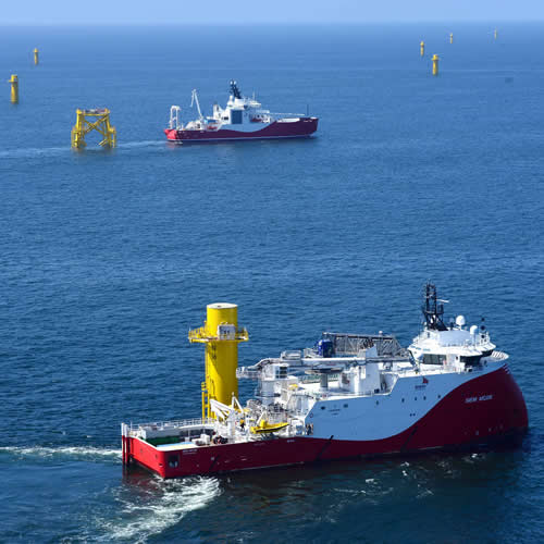 Kabelarbeiten im Offshore Windpark Nordsee One